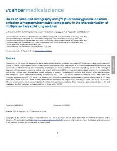 Roles of computed tomography and [18F ... - CiteSeerX