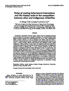 Roles of mating behavioural interactions and life ... - Semantic Scholar