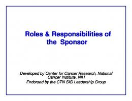 Roles & Responsibilities of the Research Team & Sponsors