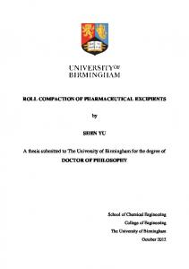 Roll compaction of pharmaceutical excipients - eTheses Repository