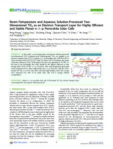 Room-Temperature and Aqueous Solution ... - ACS Publications