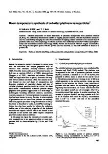 Room temperature synthesis of colloidal platinum nanoparticles