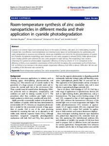 Room-temperature synthesis of zinc oxide ... - BioMedSearch