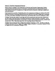 Roscoe C. Giles Short Biographical Statement Roscoe Giles is a ...
