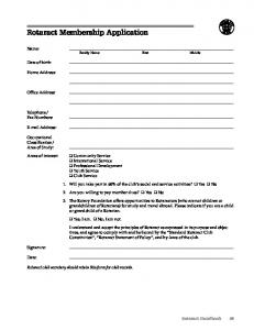 Rotaract Membership Application