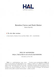 Rotation Curves and Dark Matter - Archive ouverte HAL