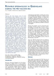 rotavirus epidemiology in queensland during the pre - My Health Record