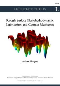Rough surface elastohydrodynamic lubrication and ... - DiVA portal