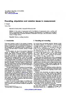 Rounding, stipulation and notation issues in measurement