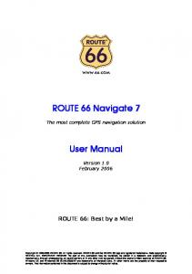 ROUTE 66 Navigate 7 User Manual - ROUTE 66 / Digital Media