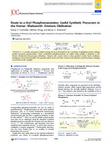 Route to α-Aryl Phosphonoacetates: Useful ... - ACS Publications