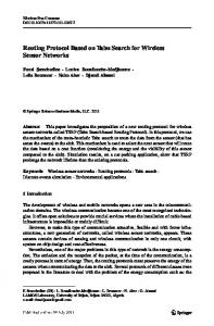 Routing Protocol Based on Tabu Search for Wireless ... - Springer Link