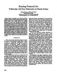 Routing Protocols for Vehicular Ad Hoc Networks in Rural Areas