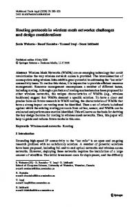 Routing protocols in wireless mesh networks - Semantic Scholar