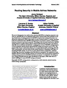 Routing Security in Mobile Ad-hoc Networks - Issues in Informing ...