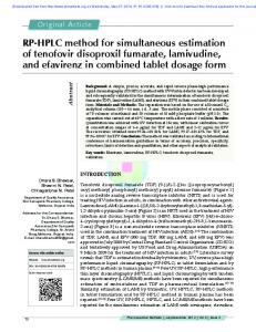 RP-HPLC method for simultaneous estimation of tenofovir disoproxil ...