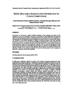 rsdc (reliable scheduling distributed in cloud ... - Semantic Scholar