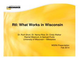 RtI: What Works in Wisconsin