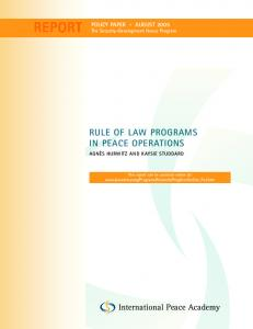 rule of law programs in peace operations - International Peace Institute