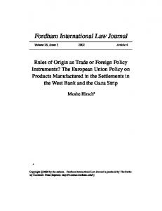 Rules of Origin as Trade or Foreign Policy Instruments?