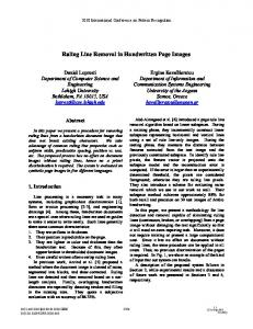 Ruling Line Removal in Handwritten Page Images - Semantic Scholar
