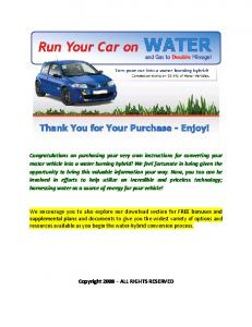 run your car on water - Talking Electronics
