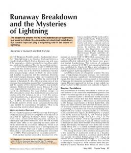 Runaway Breakdown and the Mysteries of Lightning