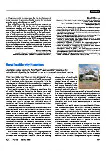 Rural health: why it matters