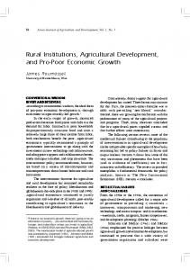 Rural Institutions, Agricultural Development, and Pro-Poor Economic ...