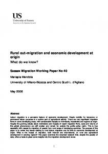 Rural out-migration and economic development ... - University of Sussex