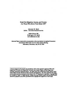 Rural Out-Migration, Income, and Poverty: Are Those ... - AgEcon Search