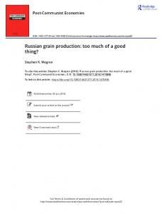 Russian grain production: too much of a good thing?