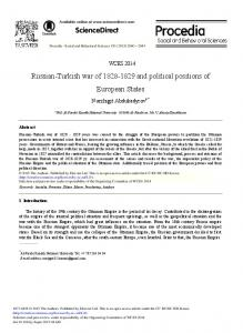 Russian-Turkish War of 1828-1829 and Political ... - ScienceDirect