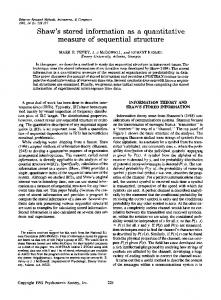 s stored information as a quantitative measure of ... - Springer Link