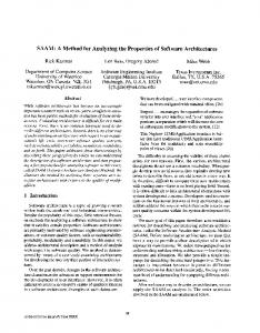 SAAM: A Method for Analyzing the Properties of Software Architectures