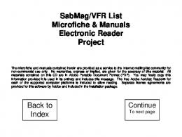 SabMag/VFR List Microfiche & Manuals Electronic Reader Project ...