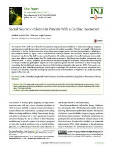 Sacral Neuromodulation in Patients With a Cardiac