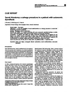 Sacral rhizotomy: a salvage procedure in a patient with autonomic ...