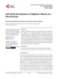 Safe Hydroformylation of Aliphatic Alkene in a Flow Reactor - Scientific