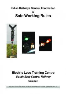Safe Working Rule - South East Central Railway - Indian Railway
