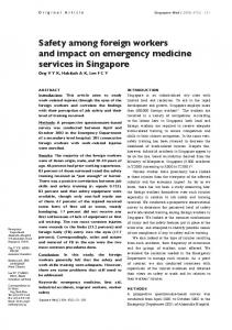 Safety among foreign workers and impact on ... - Singapore Med J