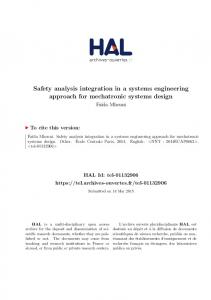 Safety analysis integration in a systems engineering approach for ...