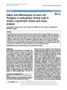 Safety and effectiveness of stem cell therapies in ... - BioMed Central