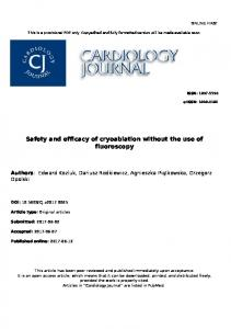 Safety and efficacy of cryoablation without the use of fluoroscopy