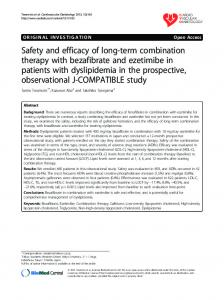 Safety and efficacy of long-term combination therapy with bezafibrate ...
