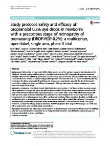 safety and efficacy of propranolol 0.2% eye drops in ... - BMC Pediatrics