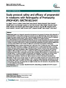 safety and efficacy of propranolol in newborns with Retinopathy of ...
