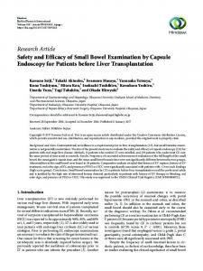 Safety and Efficacy of Small Bowel Examination by Capsule ...