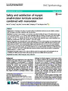 Safety and satisfaction of myopic small-incision lenticule extraction ...