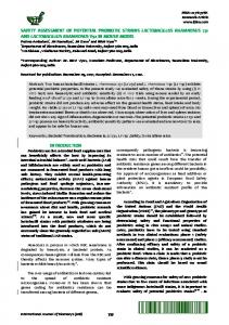 Safety assessment of potential probiotic strains Lactobacillus ...